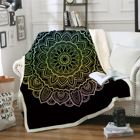 Pastel Mandala Flower (Black) Throw Rug