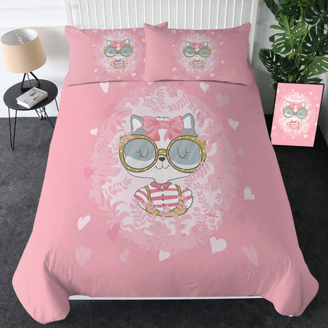 Girl Kitty Cat (Pink) Bedding Set