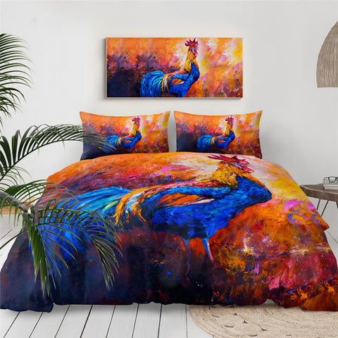 Acrylic Painting Rooster Bedding Set