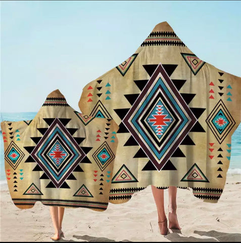 American Indian Patten Hooded Towel