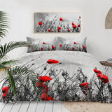 Red Poppies Bedding Set