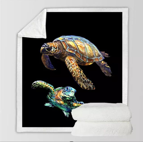 Two Turtles (Black) is Throw Rug