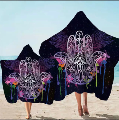 Rainbow Splash Hamsa Hooded Towel