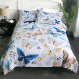 Blue & Beige Butterflies Bedding Set