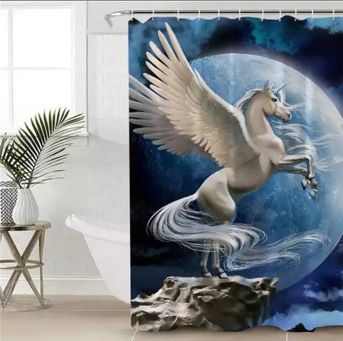 White Pegasus In Front Of Moon Shower Curtain