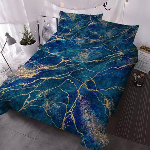 Turquoise & Gold Marble Bedding Set