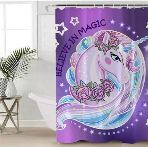 Purple Believe In Magic Shower Curtain