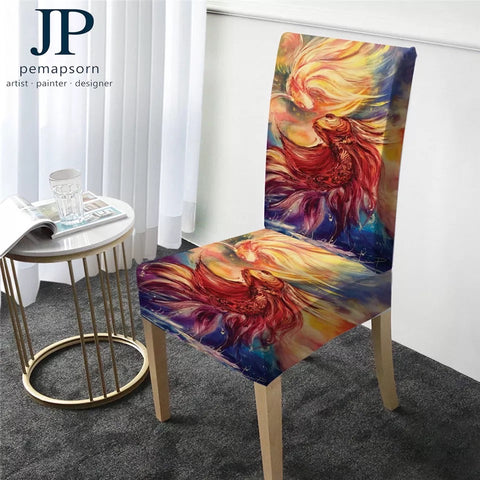 Fishes By JP.Pemapsorn Chair Slipcover