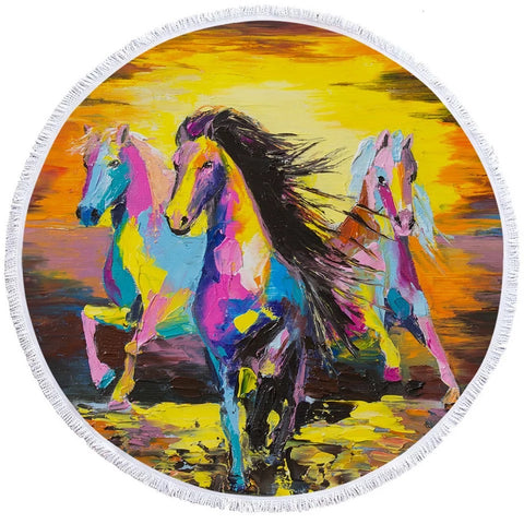 Three Horses Acrylic Painting Round Towel
