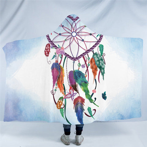 Heart Dreamcatcher (Blue) Hooded Blanket