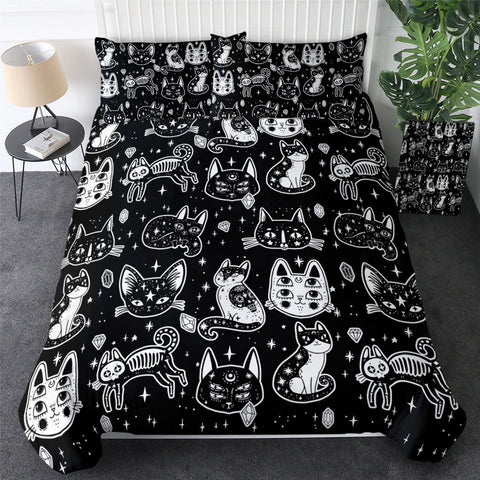 Black & White Day Of The Dead Cartoon Bedding Set