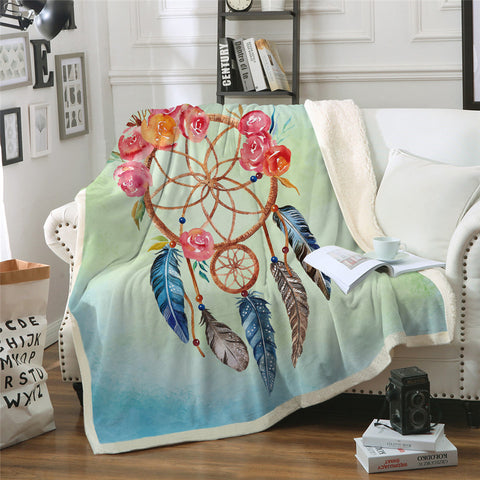 Orange & Pink Dreamcatcher Throw Rug