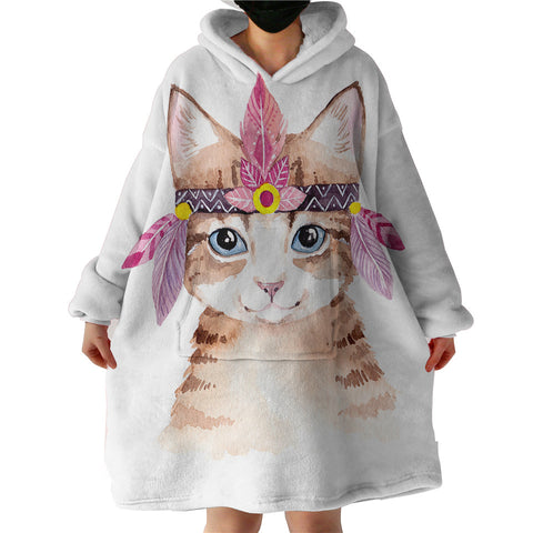 Pink Indian headband On Cat Sherpa Hoodie