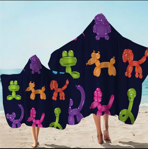 Balloon Dogs Hooded Towel