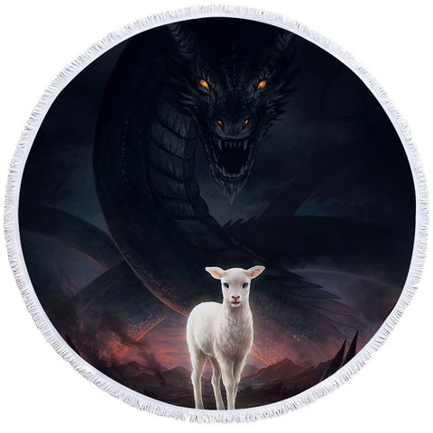The Lamb and the Dragon by JoJoesArt Round Towel