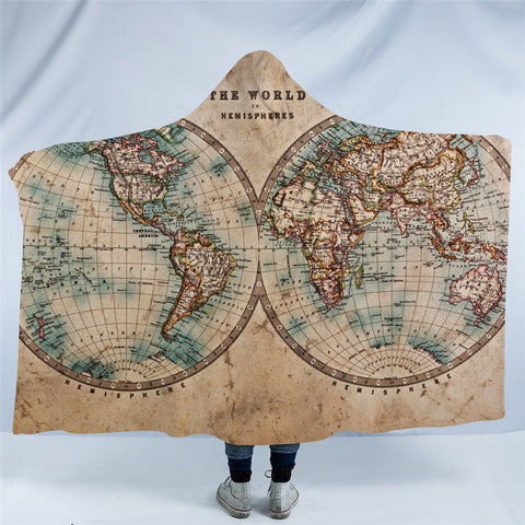 Vintage Map Hooded Blanket