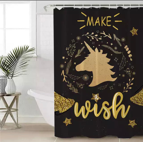 Make A Wish Unicorn Shower Curtain