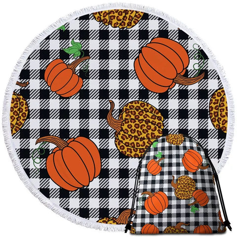Leopard & Orange Pumpkins Round Towel