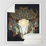 Black Bull Skull Dreamcatcher Throw Rug