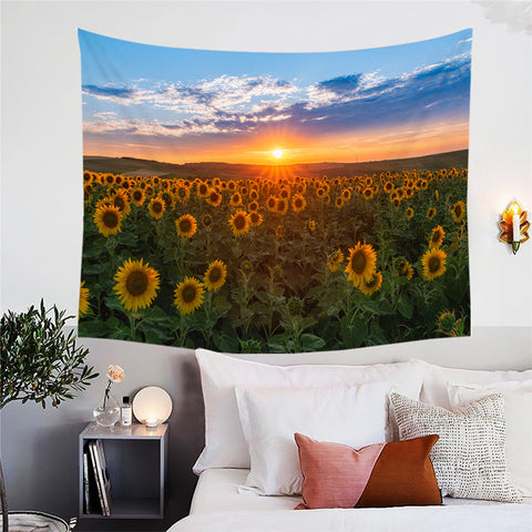 Sunset Over Sunflower Field Wall Tapestry