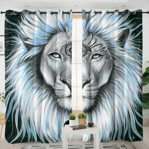 Lion Galaxy By Pixie Cold Art Window Curtain