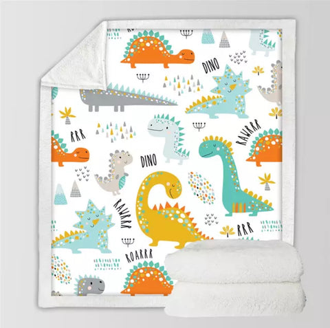 Cartoon Dinosaurs Throw Rug