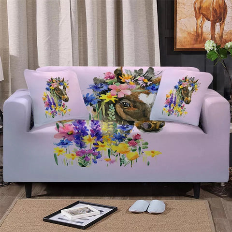 Horse Among Flowers Sofa Cover