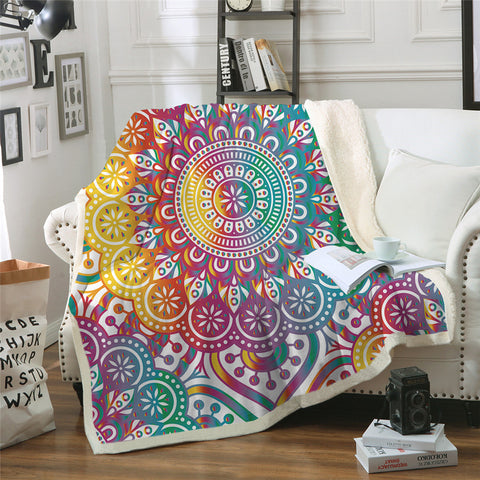 Rainbow Mandala Throw Rug