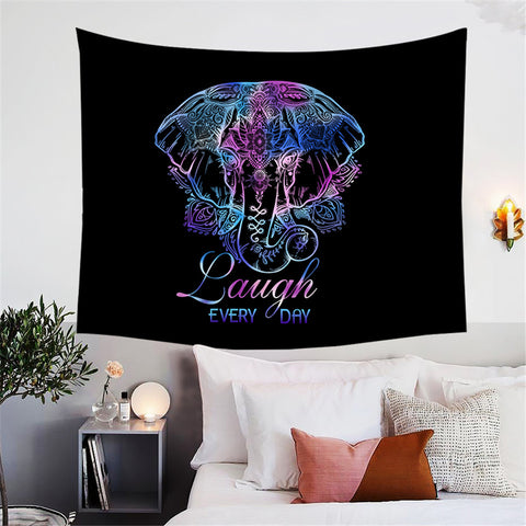 Boho Elephant (Laugh Every Day) Wall Tapestry