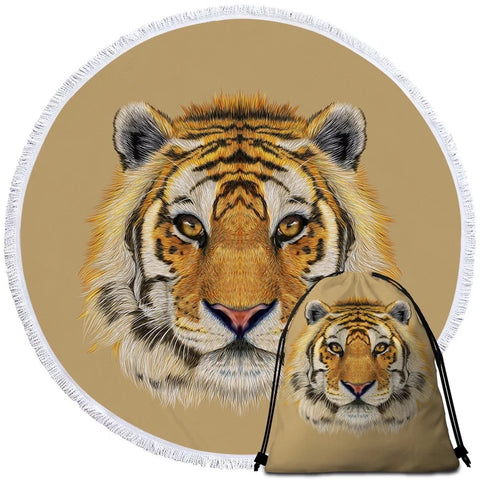 Tiger Face Round Towel