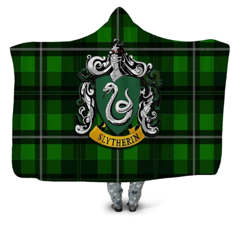 Slytherin Tartan Hooded Blanket