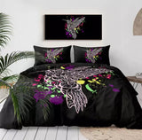 Pink Bird With Paint Splatter (Black) Bedding Set