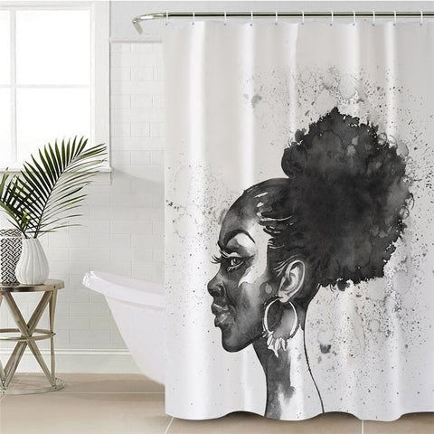 Black & White African Lady Shower Curtain