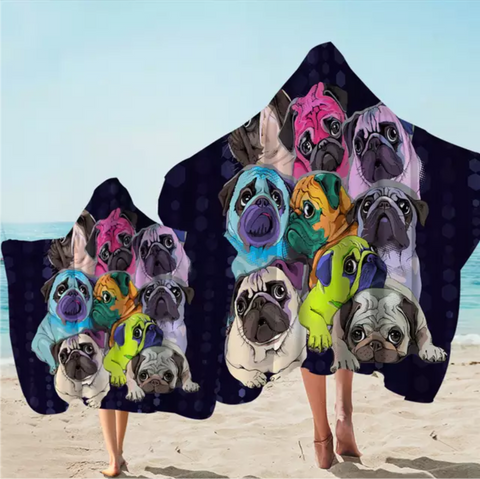 Rainbow Pugs Hooded Towel