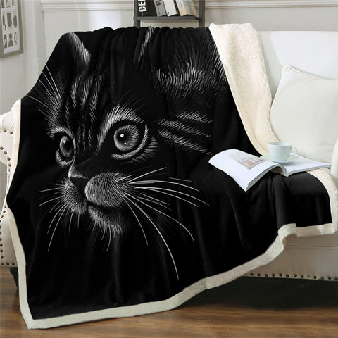 Drawing Of Black & White Cat Hooded Blanket