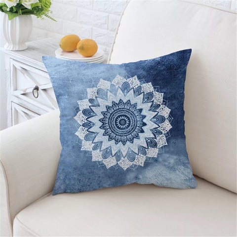 Cobalt Blue Mandala Cushion Cover