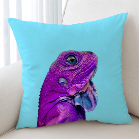 Purple Iguana Cushion Cover