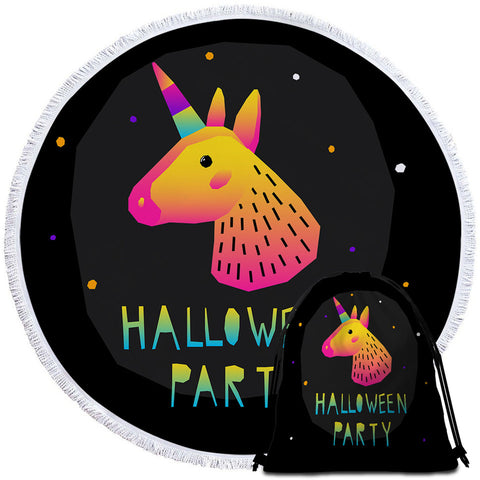 Halloween Party Unicorn Round Towel
