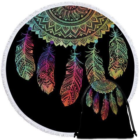 Rainbow Dreamcatcher Round Towel