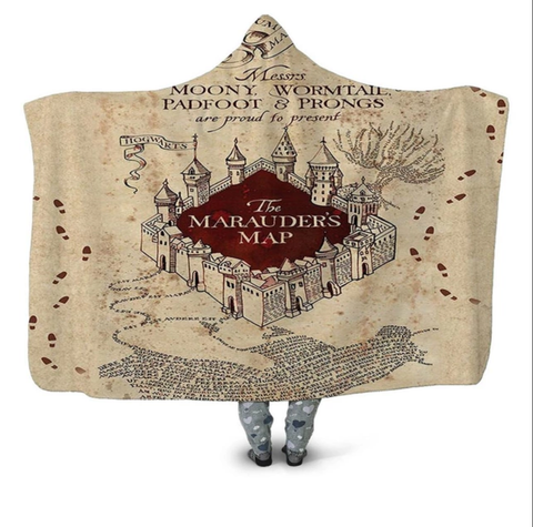 The Marauder's Map Hooded Blanket