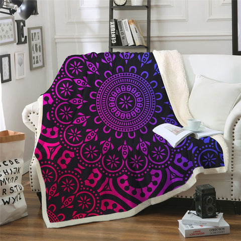 Purple & Red Mandala Flower Throw Rug