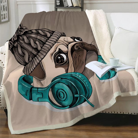 Headphones & Bennie Pug Throw Rug
