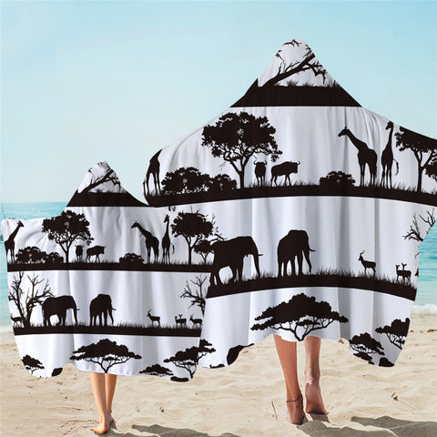 Black & White African Savanna Hooded Towel