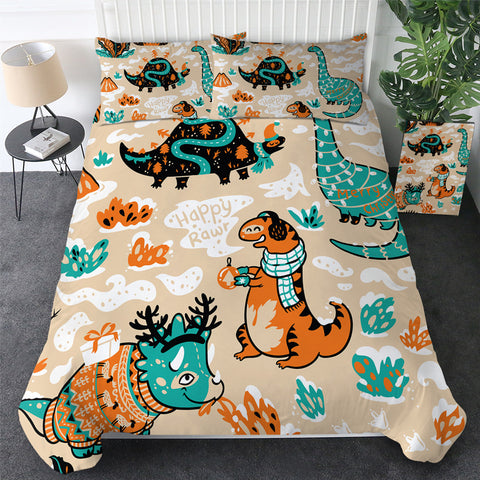 Cartoon Happy RAWR Dinosaurs Bedding Set