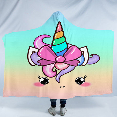 Cute Unicorn With Bow Hooded Blanket