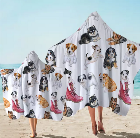 Various Puppies Hooded Towel