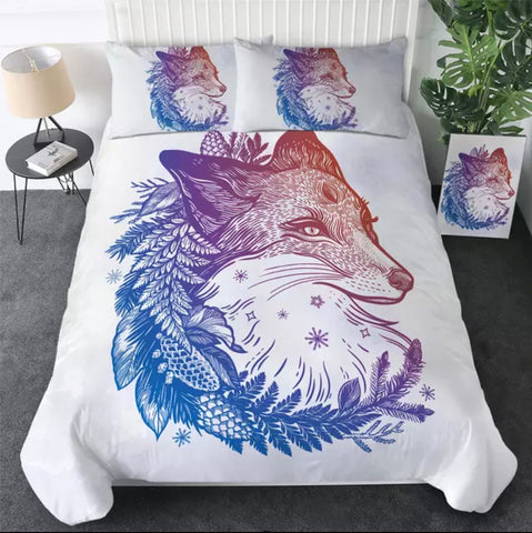 Blue, Purple & Red Fox Bedding Set