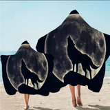 Wolf Howling At The Moon Hooded Towel