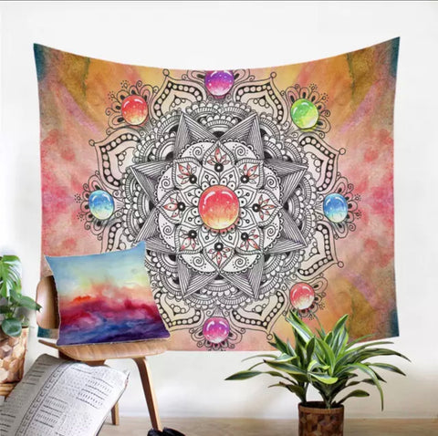 Gemstone Mandala Wall Tapestry