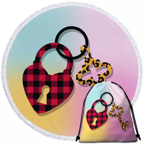 Patterned Heart Lock & Key Round Towel